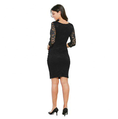 Latest Midi Bodycon Dress With Lace Sleeves - XL RED Mobile
