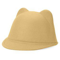Fashionable Cat Ear Design Solid Color Top Hat for Unisex - CAMEL