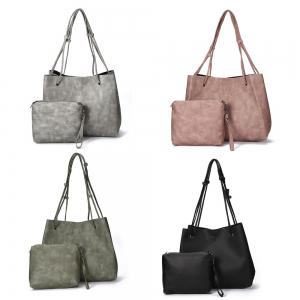 Guapabien Simple Solid Color PU Women Pocket Shopper Bag Set -