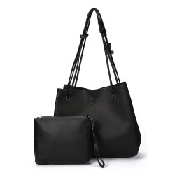 Guapabien Simple Solid Color PU Women Pocket Shopper Bag Set - BLACK