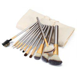 12pcs Professional Cosmetic Makeup Tools Powder Concealer Foundation Multifunction Brushes - WHITE