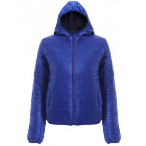 Brief Hooded Pure Color Women Short Down Coat - Blue - Xl
