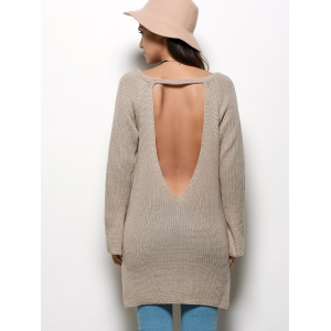 Stylish V-neck Long Sleeve Slit Design Pure Color Backless Women Sweater - GRAY M