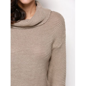 Stylish Turtleneck Long Sleeve Pure Color Knitted Women Sweater -