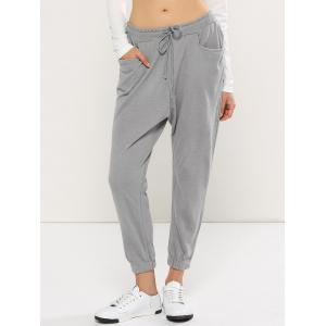 Casual Drawstring Harem Yoga Pants - Gray - 2xl