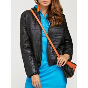 Brief Hooded Pure Color Women Short Down Coat - Black - Xl