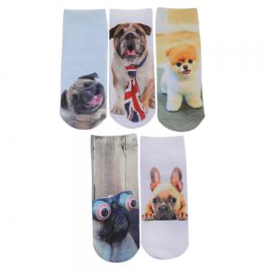 Fashionable 3D Dog Print Cotton Socks for Unisex - COLORMIX