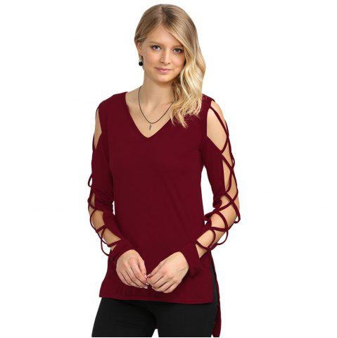 Wine red sexy v neck hollow out solid color women t shirt for Red wine out of white shirt