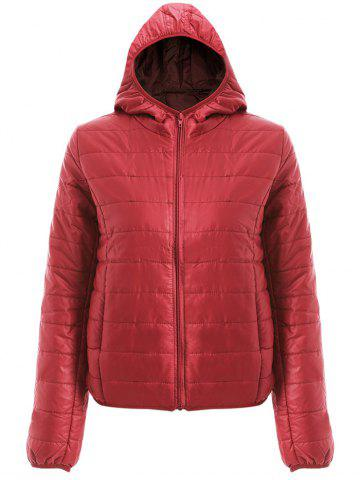 Shop Brief Hooded Pure Color Women Short Down Coat - M DEEP RED Mobile
