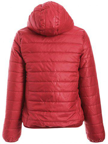 Online Brief Hooded Pure Color Women Short Down Coat - DEEP RED L Mobile