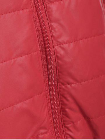 Outfits Brief Hooded Pure Color Women Short Down Coat - DEEP RED L Mobile
