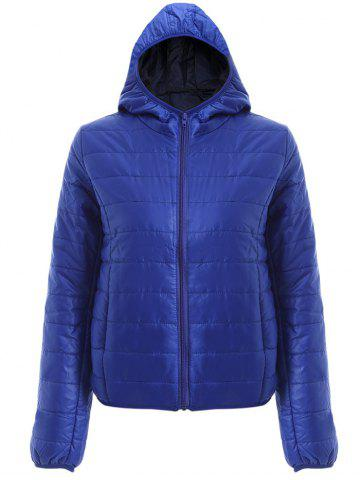 Outfits Brief Hooded Pure Color Women Short Down Coat - BLUE L Mobile