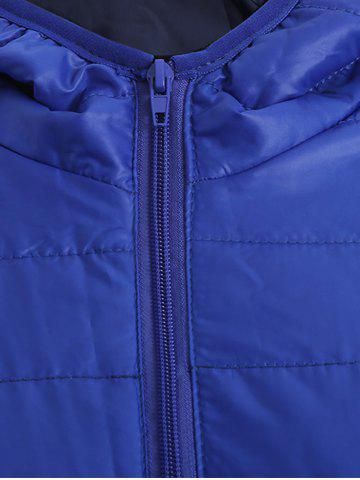 Store Brief Hooded Pure Color Women Short Down Coat - BLUE L Mobile