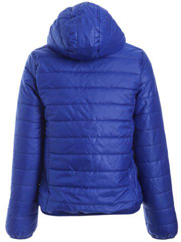 Store Brief Hooded Pure Color Women Short Down Coat - BLUE XL Mobile