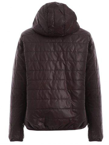 Outfit Brief Hooded Pure Color Women Short Down Coat - BROWN L Mobile