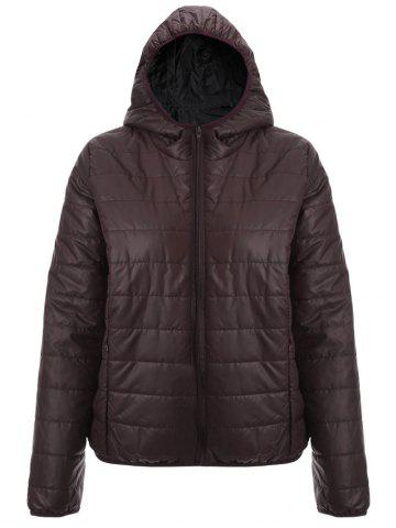 Cheap Brief Hooded Pure Color Women Short Down Coat - BROWN L Mobile