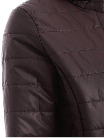 Discount Brief Hooded Pure Color Women Short Down Coat - BROWN L Mobile