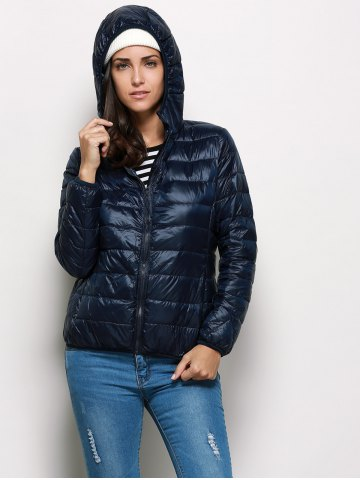 Buy Fashionable Hooded Long Sleeve Pure Color Zipper Type Women Down Coat - XL PURPLISH BLUE Mobile