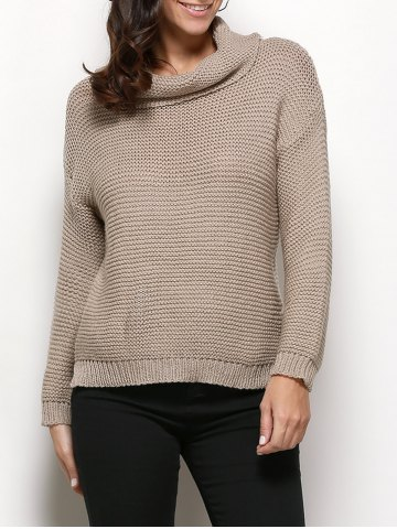 Shop Stylish Turtleneck Long Sleeve Pure Color Knitted Women Sweater