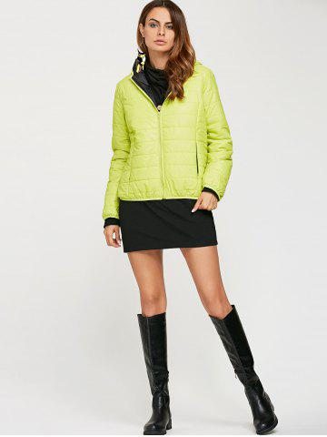 Outfits Brief Hooded Pure Color Women Short Down Coat - CELADON XL Mobile