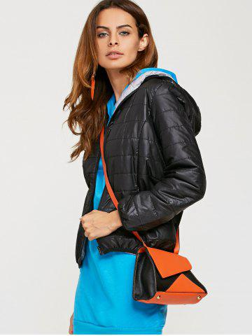 Chic Brief Hooded Pure Color Women Short Down Coat - M BLACK Mobile