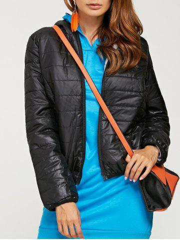 Chic Brief Hooded Pure Color Women Short Down Coat - BLACK L Mobile