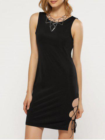 Unique Sexy Round Collar Side Hollow Out Women Sheath Black Dress