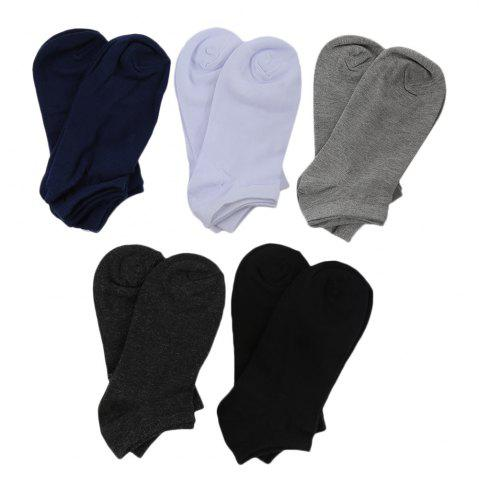 Fancy 10pcs Casual Pure Color Cotton Breathable Ankle Socks for Men - WHITE  Mobile