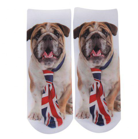 Fashionable 3D Dog Print Cotton Socks for Unisex - Brown