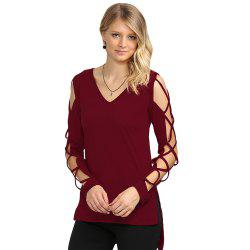 Sexy V Neck Hollow Out Solid Color Women T-Shirt -