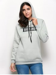 Trendy Hooded Long Sleeve Drawstring Letter Print Women Hoodie