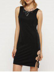 Sexy Round Collar Side Hollow Out Women Sheath Black Dress -