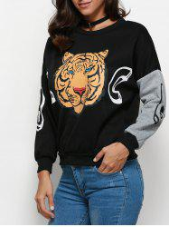 Trendy Round Collar Long Sleeve Tiger Print Pattern Women Blouse - BLACK