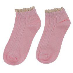 Spring Autumn Sweet Lace Decoration Solid Color Socks for Girls