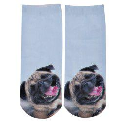 Fashionable 3D Dog Print Cotton Socks for Unisex - WHITE