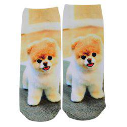 Fashionable 3D Dog Print Cotton Socks for Unisex - SWEET ORANGE