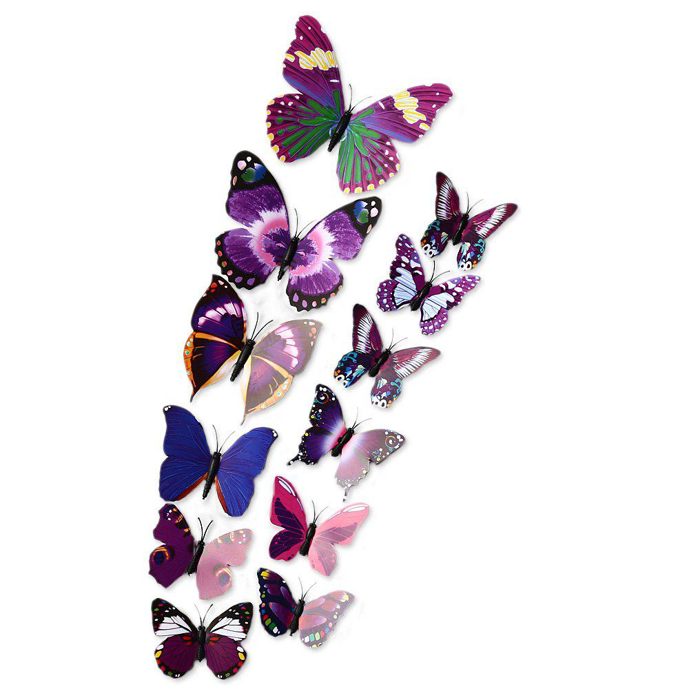 Online 12pcs 3D Butterfly Wall Decor Stickers for Living Room Bedroom Office Decorations
