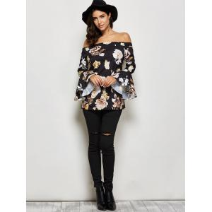 Allover Print Off The Shoulder Flare Sleeve Blouse -