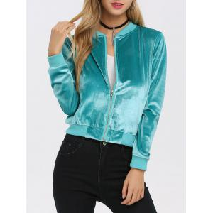 Old Classical Solid Color Long Sleeve Short Baseball Coat for Women - Tiffany Blue - Xl