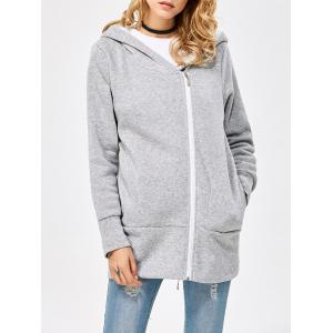Casual Solid Color Zipper Design Long Sleeve Hoodies for Women - Light Gray - L