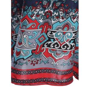 Old Classical  Style Round Collar Long Sleeve Print Loose Women Dress -