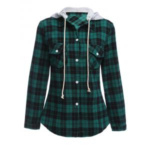 Long Sleeve Drawstring Hooded Plaid Flannel Shirt - Green - S