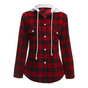 Long Sleeve Drawstring Hooded Plaid Flannel Shirt - Red - S