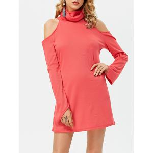 Turtleneck Long Sleeve Cut Out Sheath BodyconDress