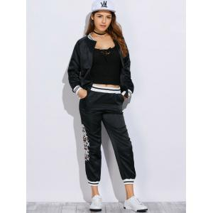 Chic Stand Collar Embroidery Women Two Piece Sport Set -