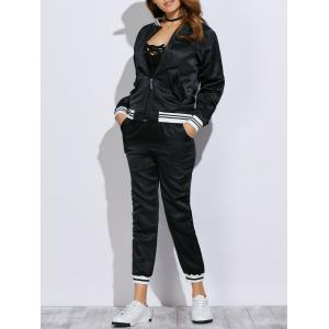Chic Stand Collar Embroidery Women Two Piece Sport Set