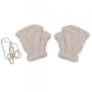 Cute Bear Claw Design Open Finger Thickening Warm Gloves for Women - Off-white