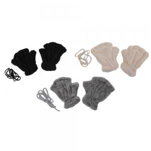 Cute Bear Claw Design Open Finger Thickening Warm Gloves for Women -