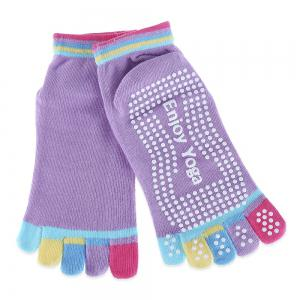 Yoga Socks Non-slip Skid with Full Toe Grips - Light Purple - M