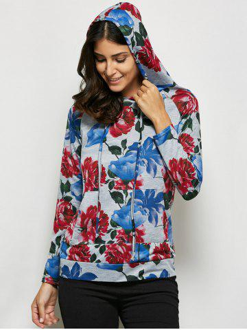 Store Fashionable Hooded Long Sleeve Floral Print Drawstring Women Hoodie - XL GRAY Mobile